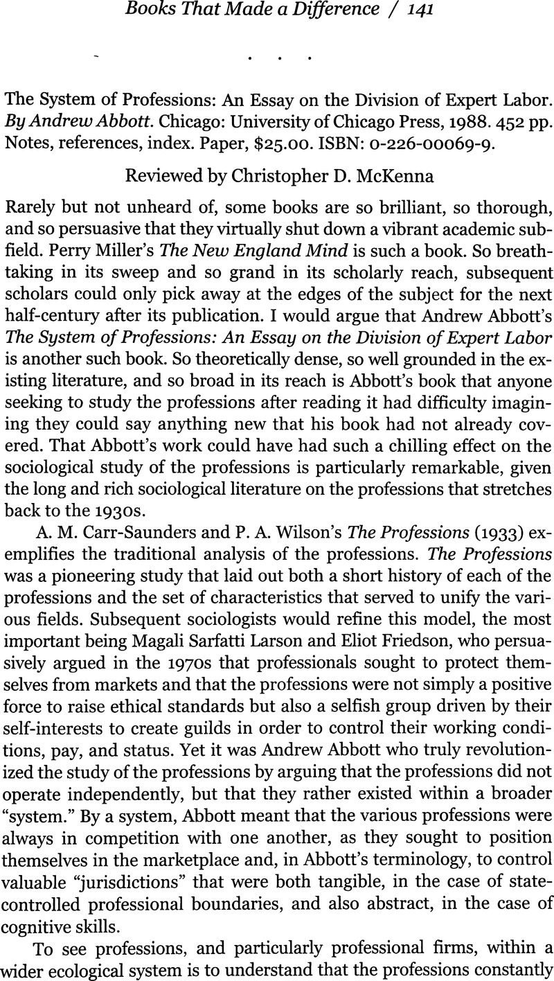 abbott system of professions