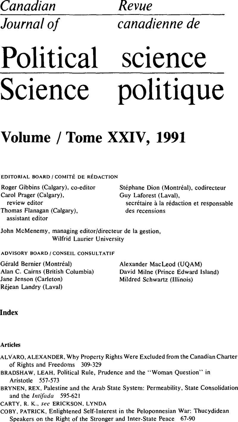 Index | Canadian Journal of Political Science/Revue
