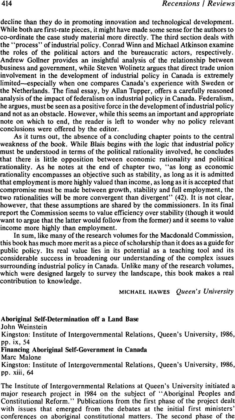 aboriginal self government in canada