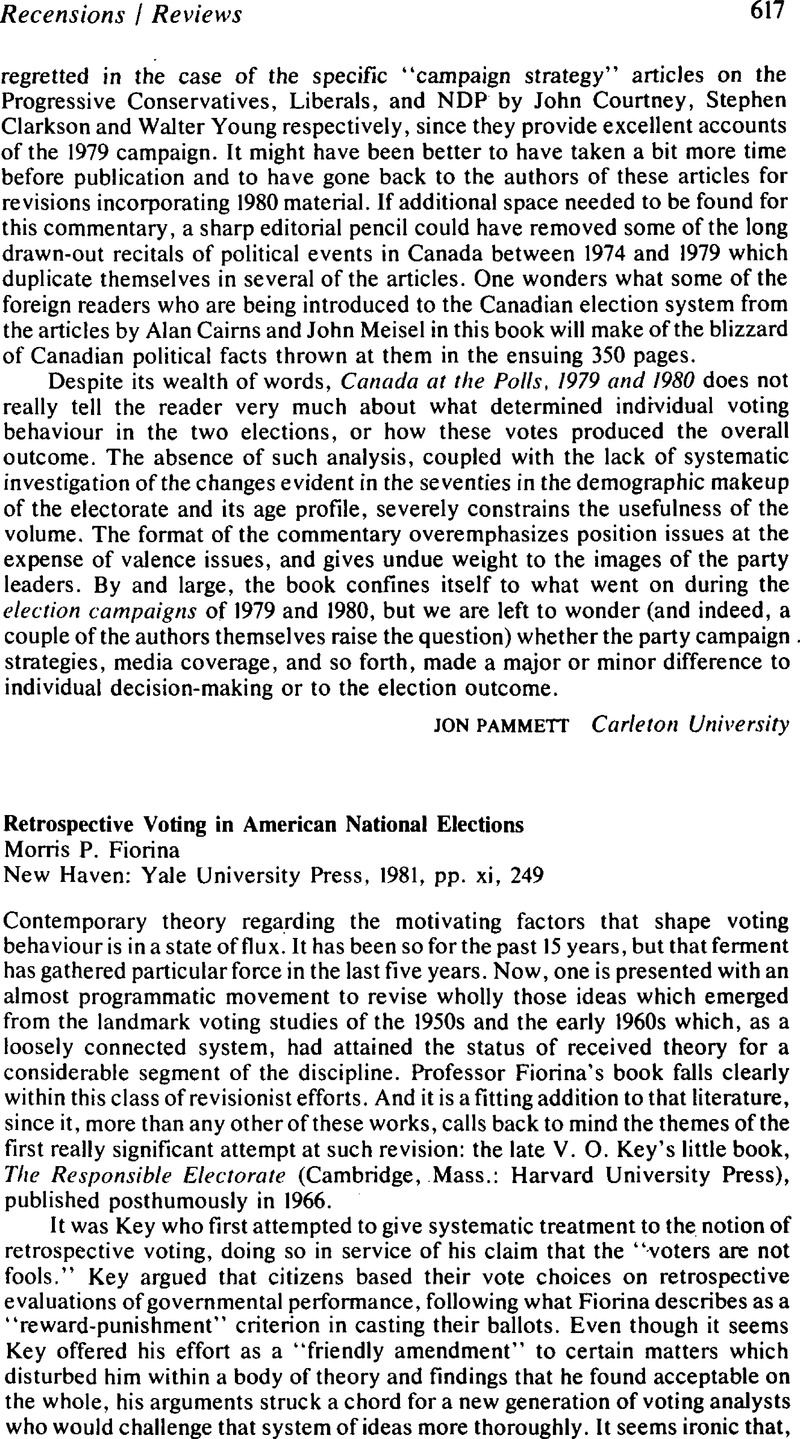 Retrospective Voting In American National ElectionsMorris P Fiorina New Haven Yale University Press 1981 Pp Xi 249