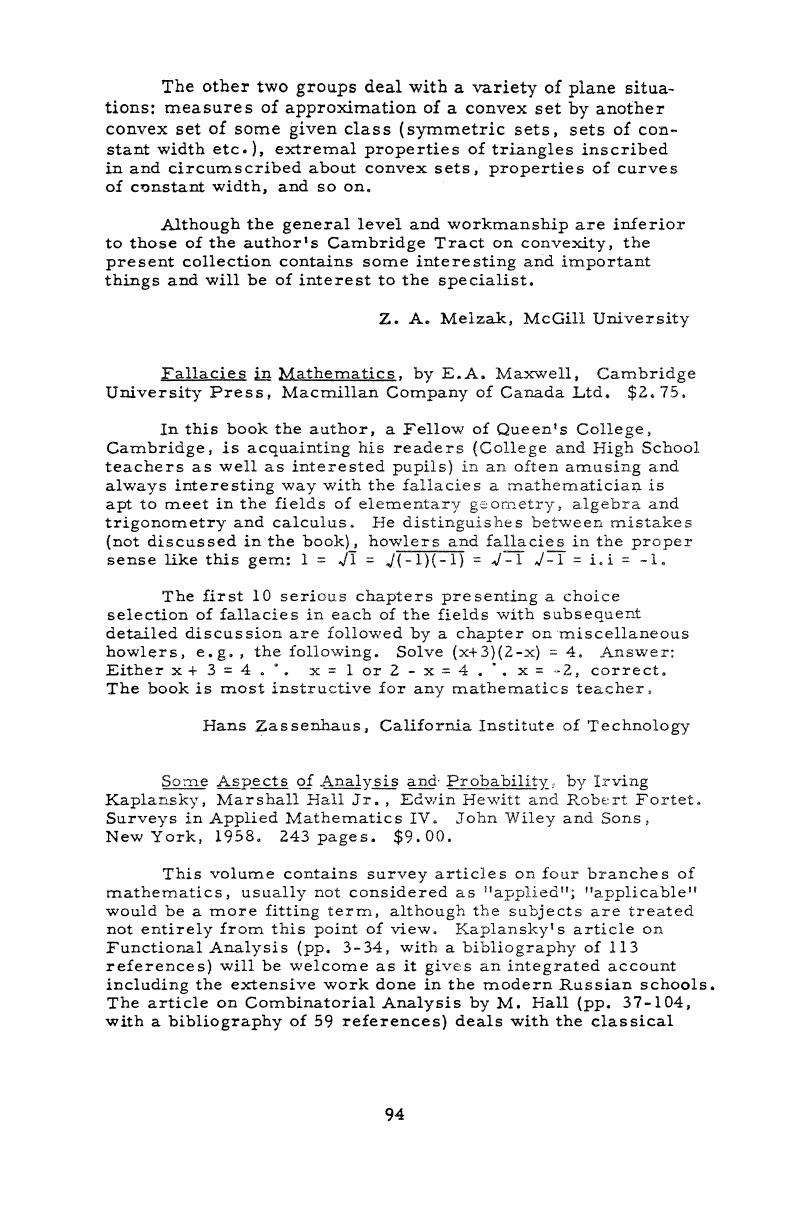 Fallacies in Mathematics, by E A  Maxwell, Cambridge