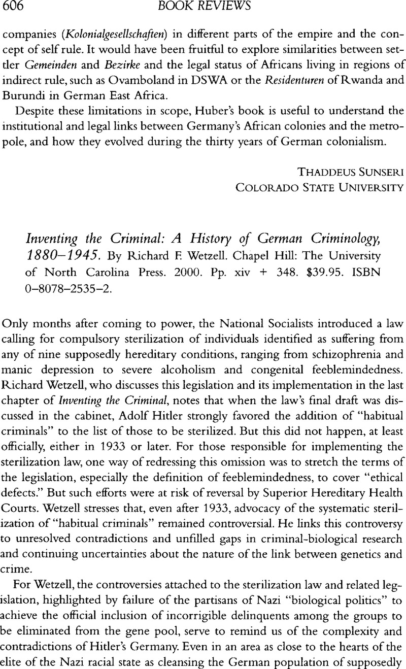 Inventing the criminal a history of german criminology 18801945 inventing the criminal a history of german criminology 18801945 by richard f wetzell chapel hill the university of north carolina press 2000 publicscrutiny Choice Image