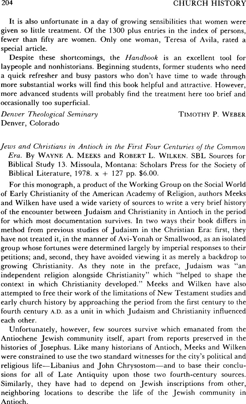 Jews and Christians in Antioch in the First Four Centuries