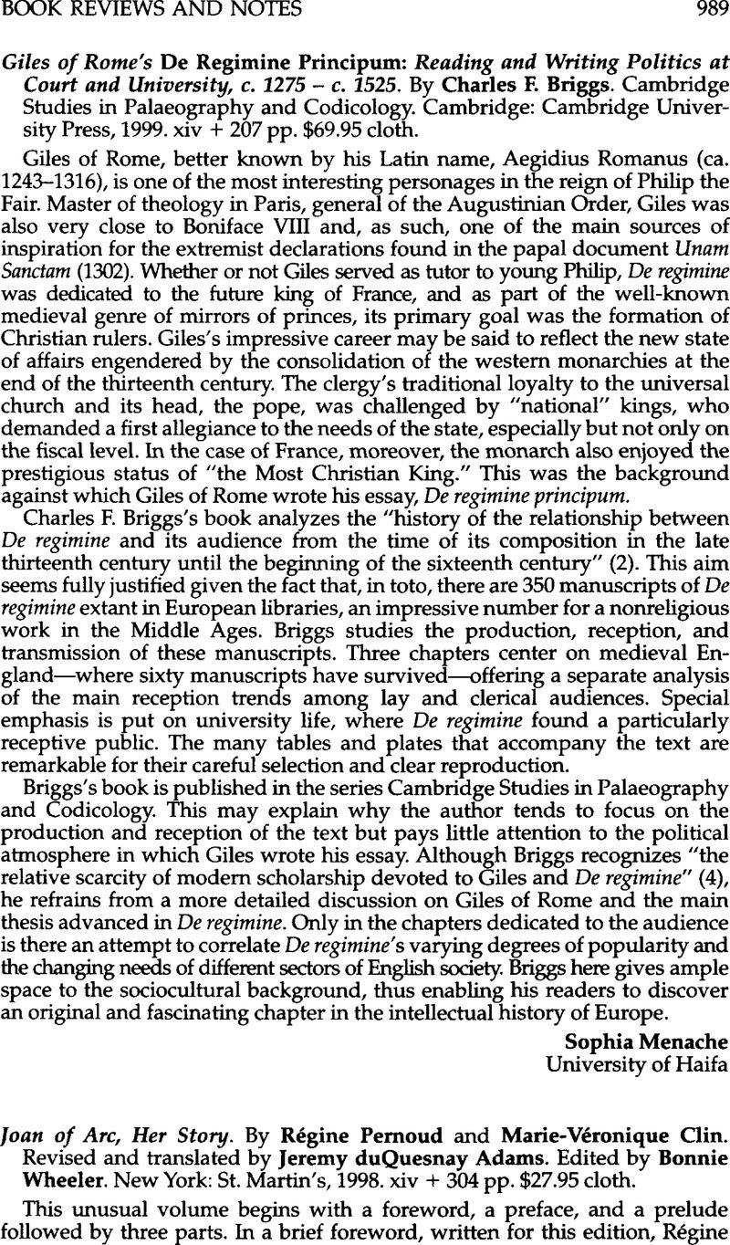 Giles of Rome\'s De Regimine Principum: Reading and Writing Politics ...