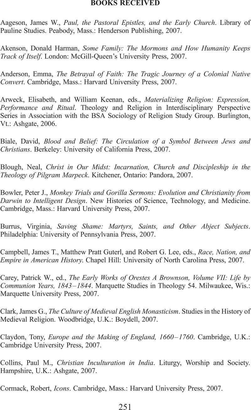 BOOKS RECEIVED | Church History | Cambridge Core