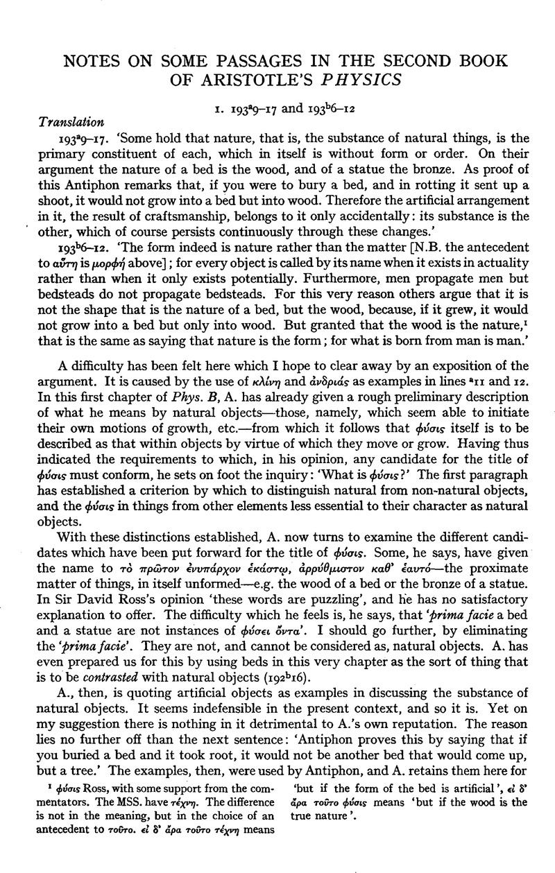 Notes on Some Passages in the Second Book of Aristotle's