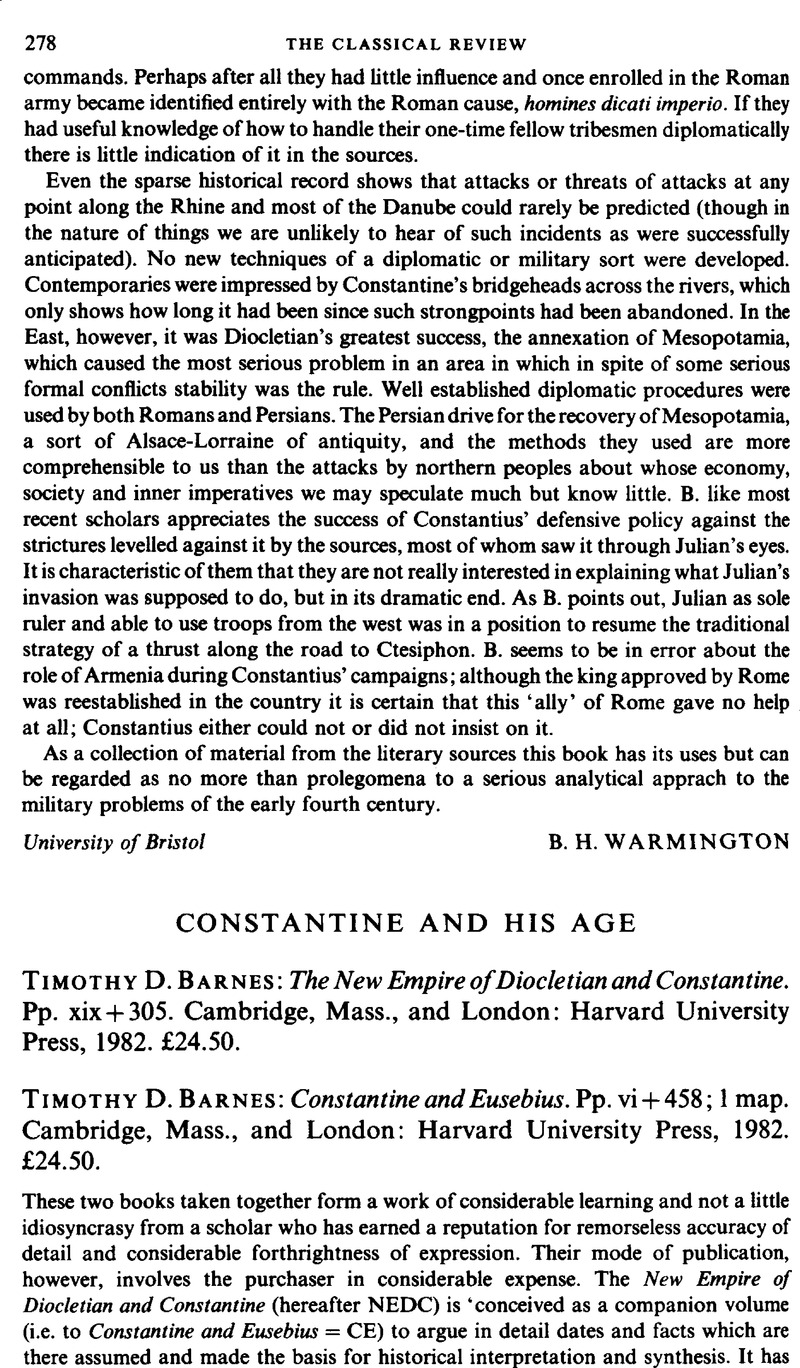 constantine and his age timothy d barnes the new empire ofconstantine and his age timothy d barnes the new empire of diocletian and constantine pp xix 305 cambridge, mass , and london harvard university