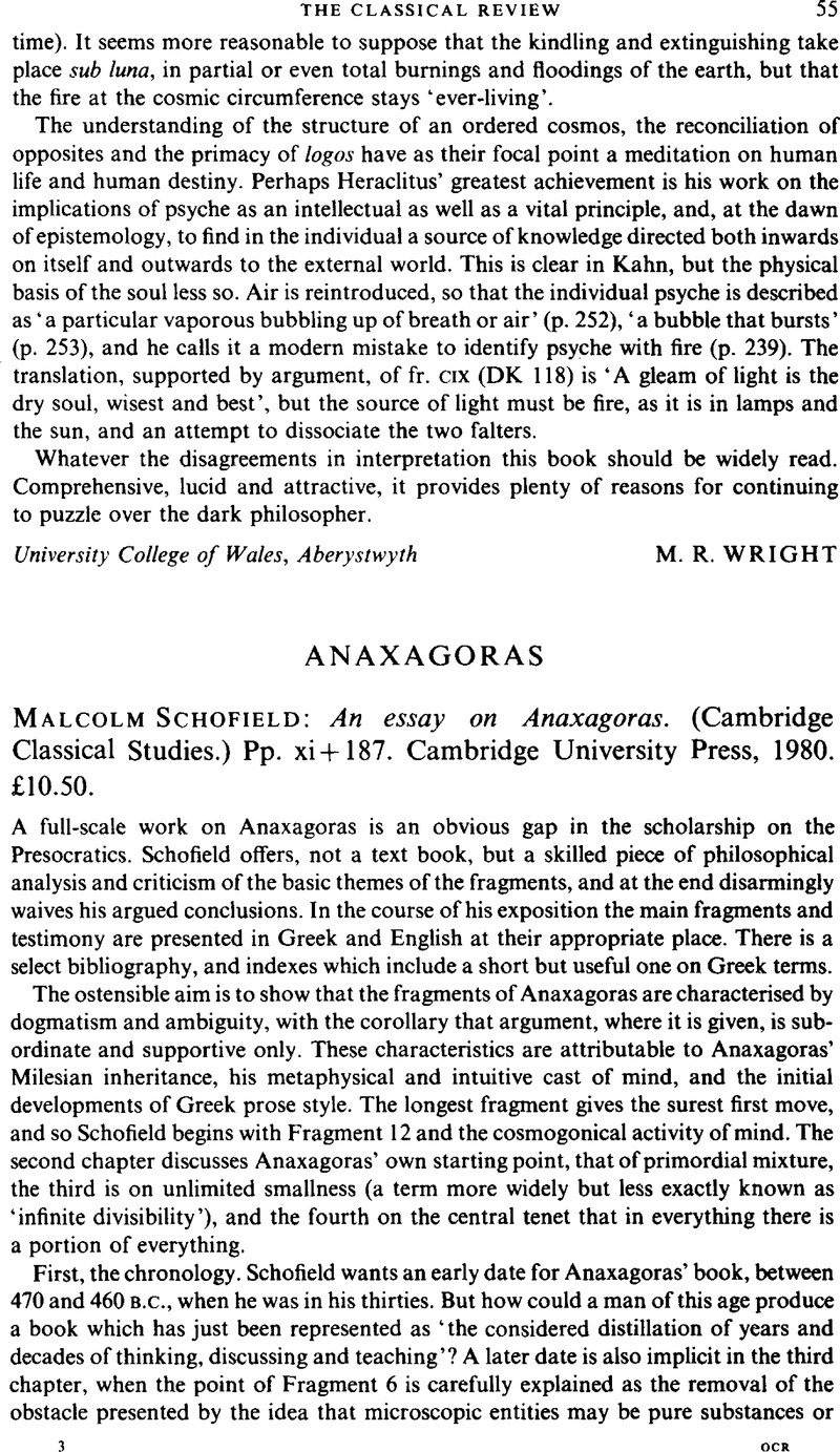 anaxagoras cambridge classical essay study The department of classical studies at indiana university offers graduate programs leading to the ma cambridge history of classical anaxagoras antiphon.