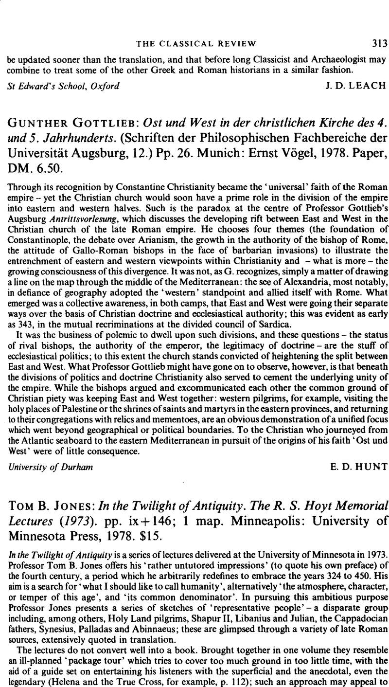 Tom B  Jones: In the Twilight of Antiquity  The R  S  Hoyt Memorial