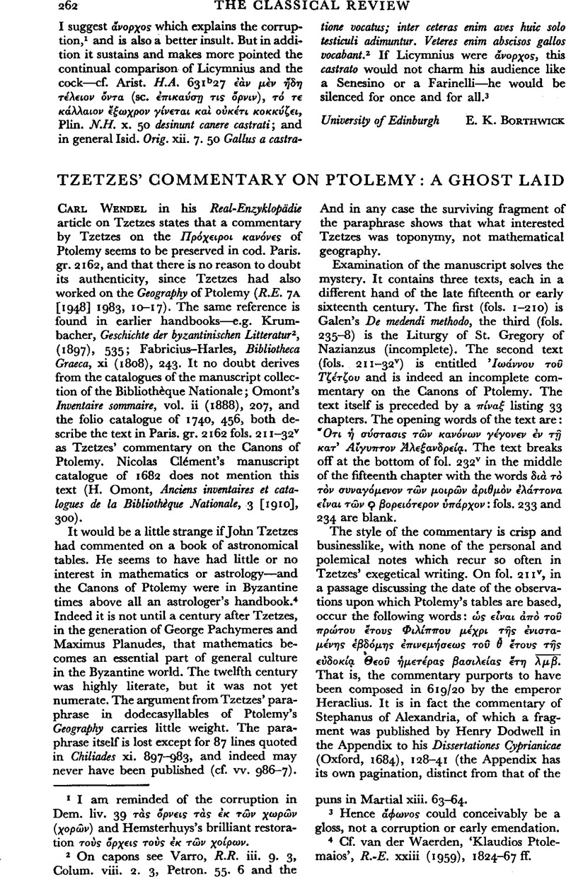 Tzetzes' Commentary on Ptolemy: A Ghost Laid | The Classical