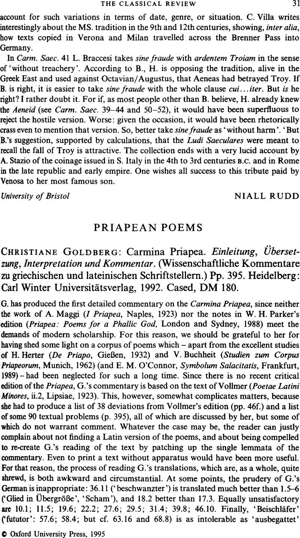 Priapean Poems Christiane Goldberg Carmina Priapea Einleitung