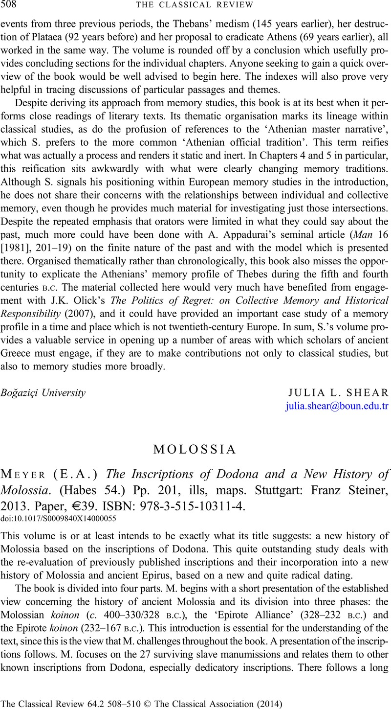 molossia e a meyer the inscriptions of dodona and a new history