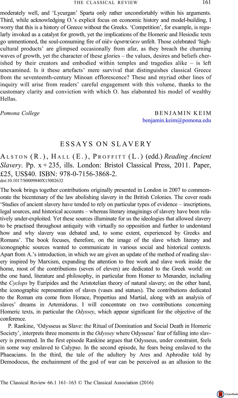 Essays On Slavery  R Alston E Hall L Proffitt Edd Reading  Essays On Slavery  R Alston E Hall L Proffitt Edd Reading Ancient  Slavery Pp X   Ills London Bristol Classical Press  Expository Essay Thesis Statement also Essay Paper  Classification Essay Thesis