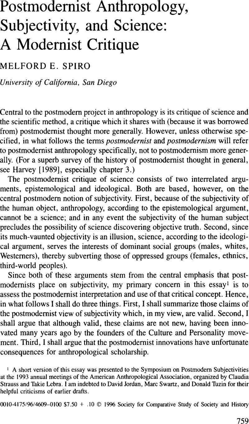 postmodernist anthropology subjectivity and science a modernist  postmodernist anthropology subjectivity and science a modernist critique