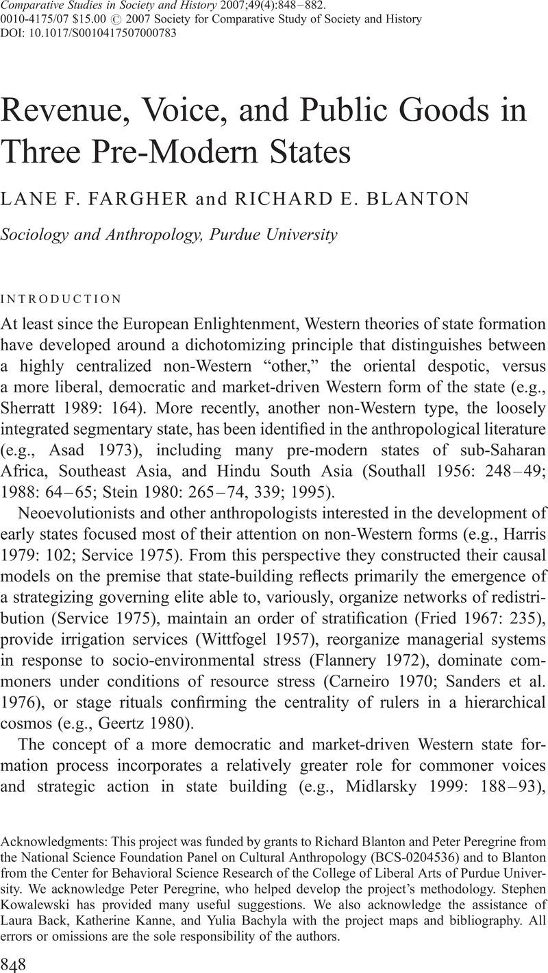 Revenue, Voice, and Public Goods in Three Pre-Modern States