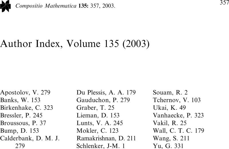 Author Index, Volume 135 (2003)   Compositio Mathematica
