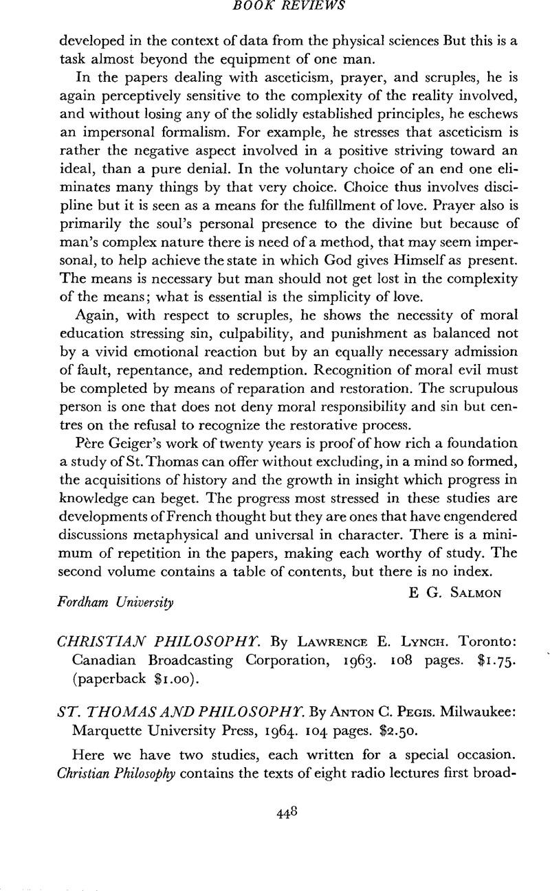 Christian Philosophy  By Lawrence E  Lynch  Toronto
