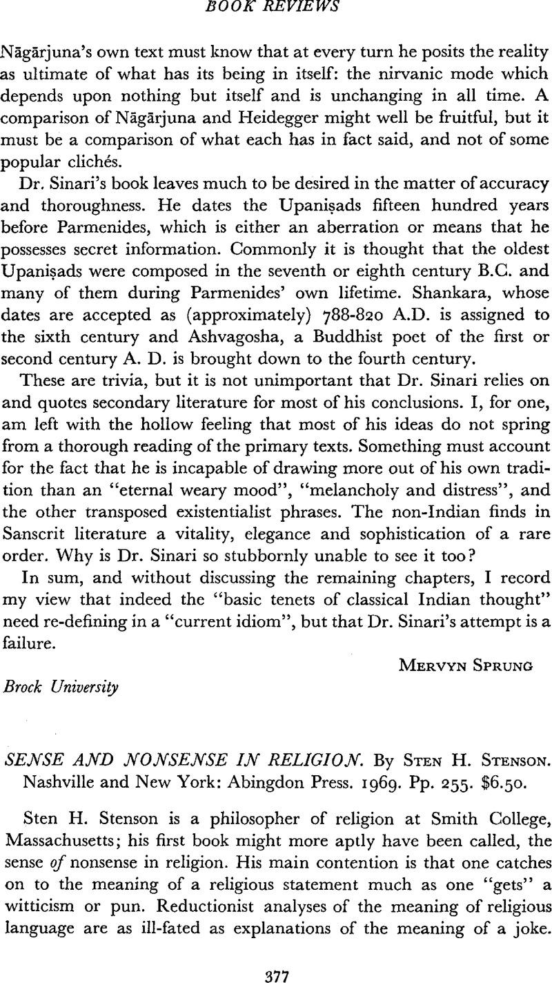 Sense and Nonsense in Religion  By Sten H  Stenson