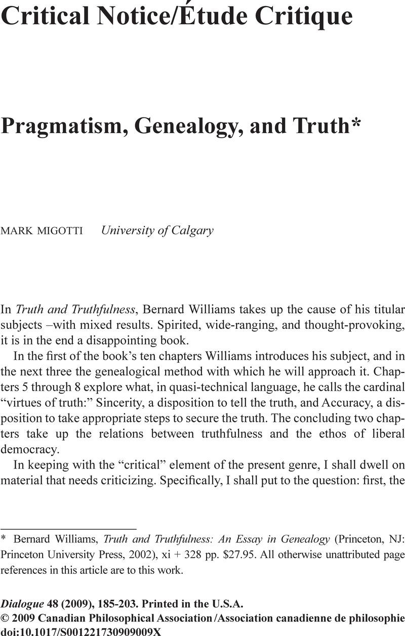 Pragmatism, Genealogy, and Truth*