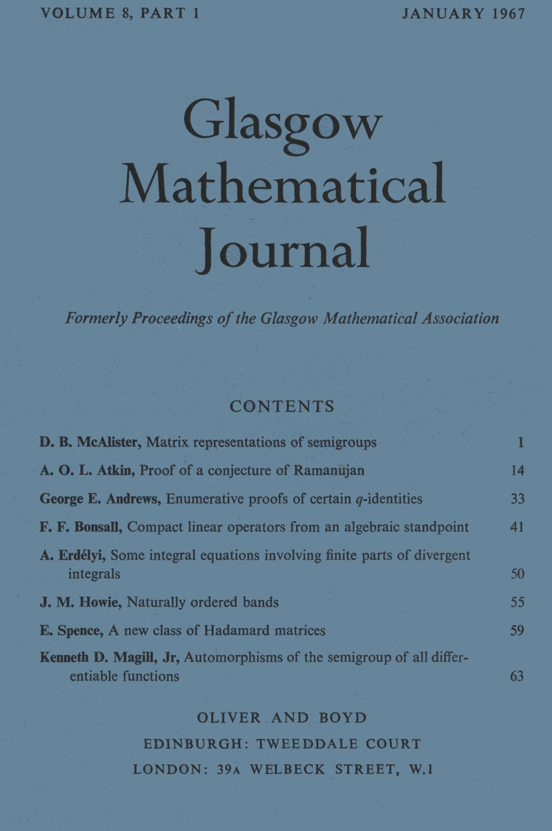 GMJ volume 8 issue 1 Cover and Front matter | Glasgow Mathematical