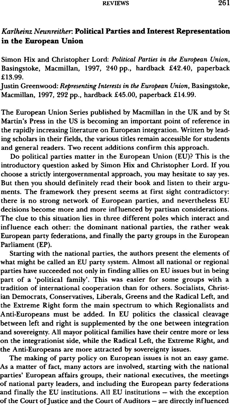 Political Parties And Interest Representation In The European Union