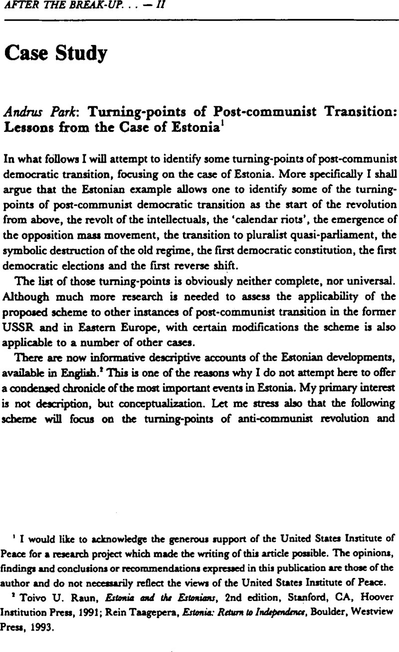Turning-points of Post-communist Transition: Lessons from
