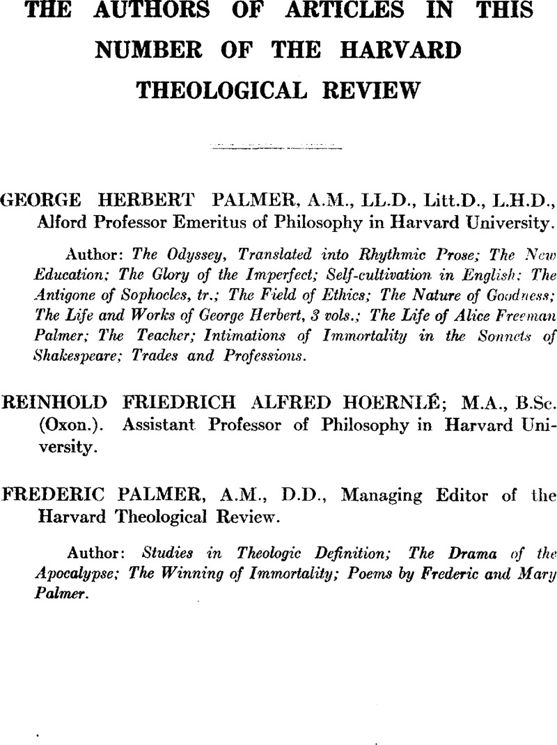htr volume 11 issue 2 cover and back matter   harvard theological