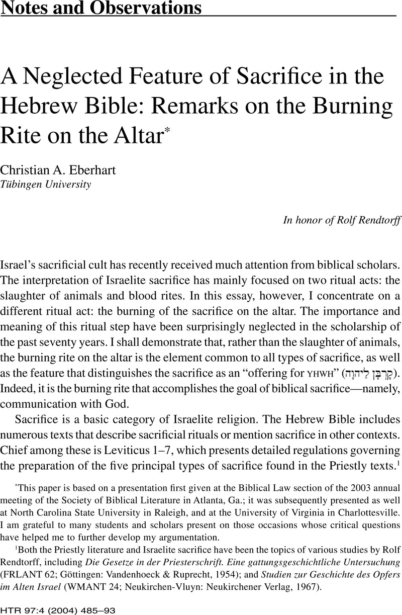 a neglected feature of sacrifice in the hebrew bible remarks on