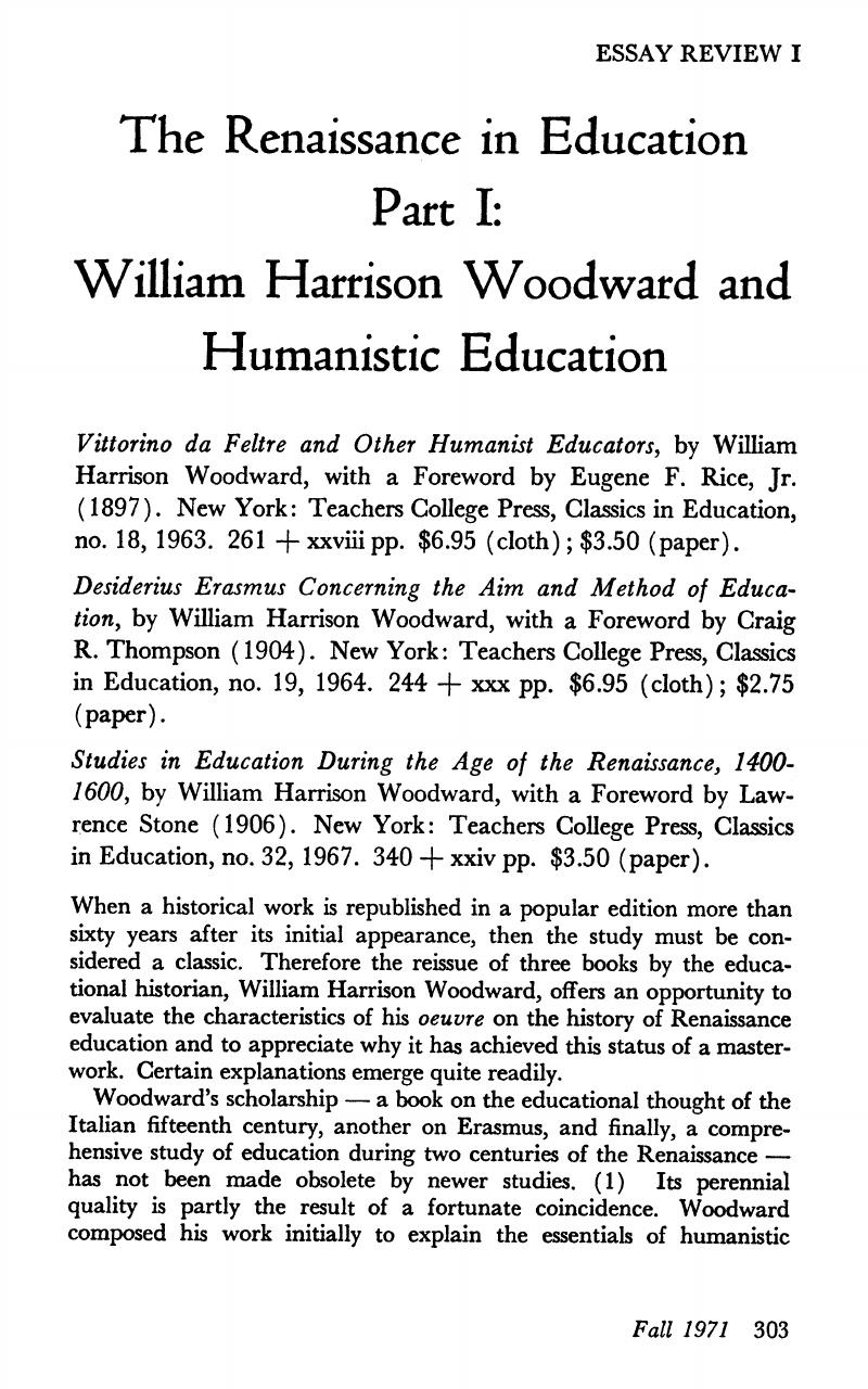 Essay Paper Help Notes Public Health Essays also Essay On My Mother In English The Renaissance In Education Part I William Harrison Woodward And  E Business Essay