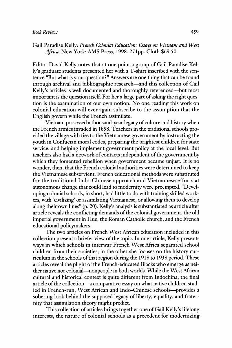 Gail Paradise Kelly French Colonial Education Essays On Vietnam  Gail Paradise Kelly French Colonial Education Essays On Vietnam And West  Africa New York Ams Press  Pp Cloth