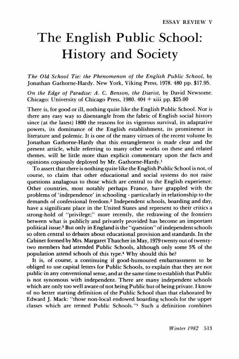 the english public school history and society  history of  abstract