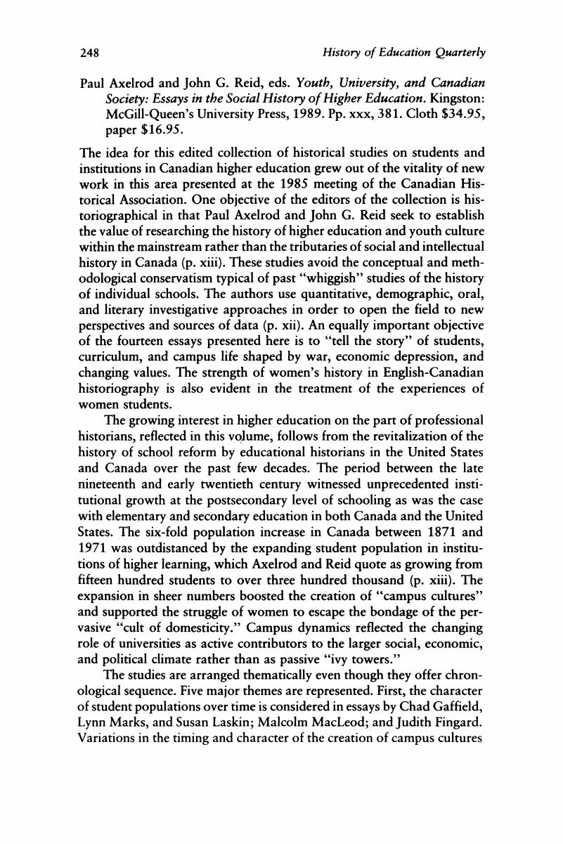 Paul Axelrod And John G Reid Eds Youth University And Canadian  Paul Axelrod And John G Reid Eds Youth University And Canadian Society  Essays In The Social History Of Higher Education Essay On Global Warming In English also Freelance Writing Companies  Science Essay Example
