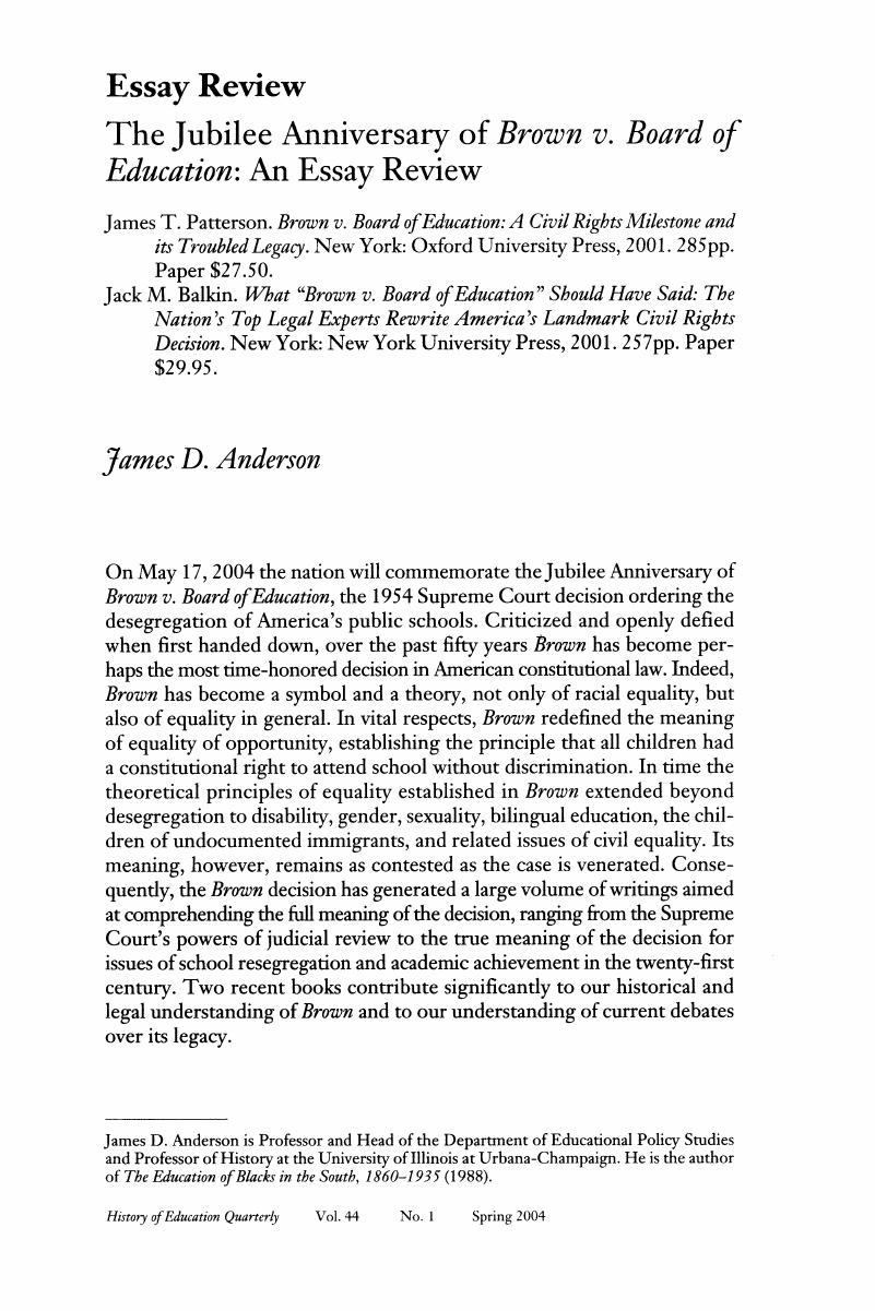 Essay On Healthy Eating Habits The Jubilee Anniversary Of Brown V Board Of Education An Essay Review Essay On Health Promotion also How To Write A Proposal Essay Example The Jubilee Anniversary Of Brown V Board Of Education An Essay  Essay Examples For High School