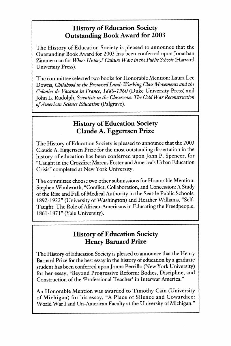 Beyond Education Wars >> History Of Education Society Outstanding Book Award For 2003
