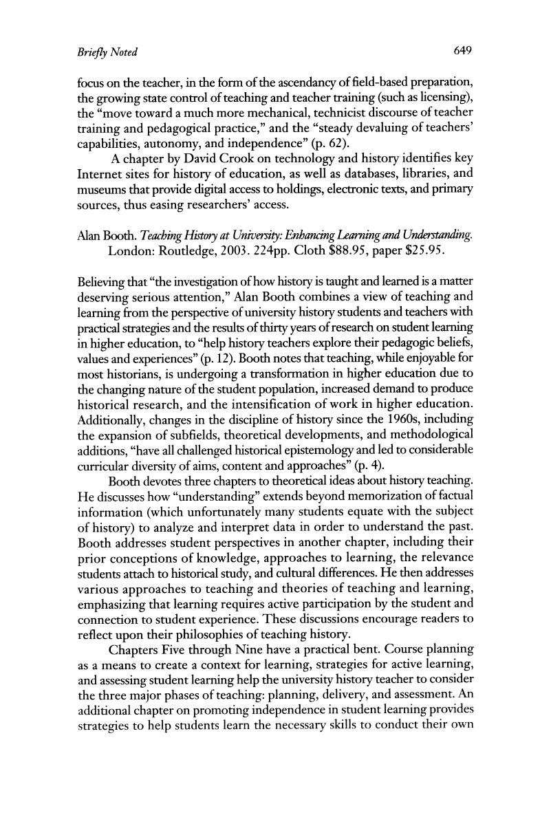 Enhancing Learning and Understanding Teaching History at University