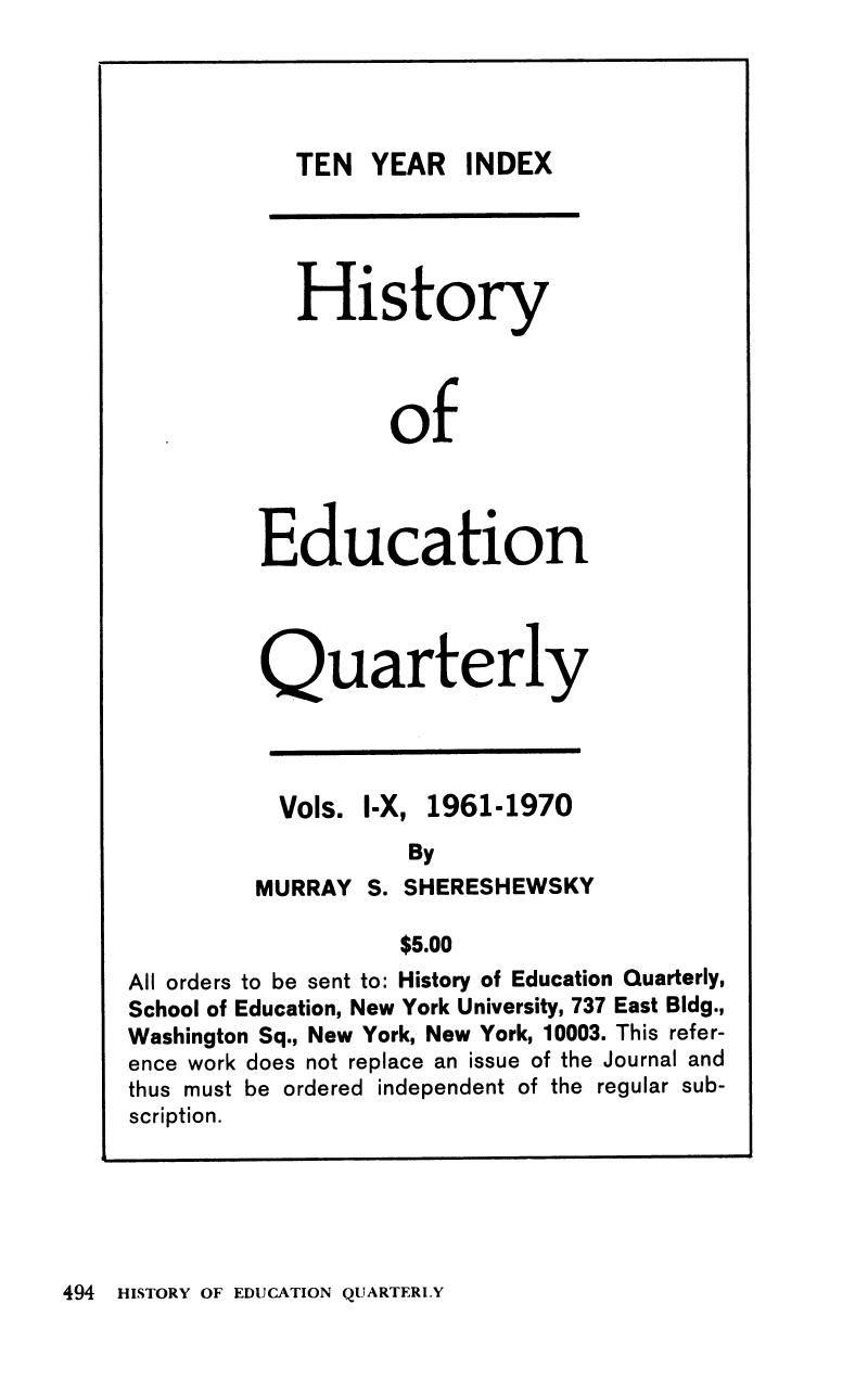 HEQ volume 13 issue 4 Cover and Back matter | History of