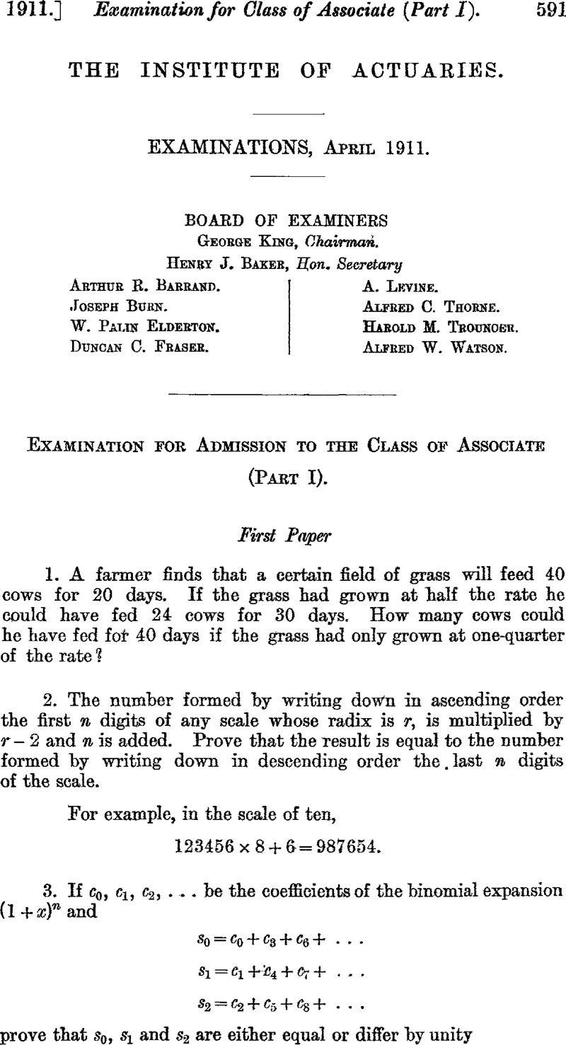 Examination Papers, April 1911 | Journal of the Institute of