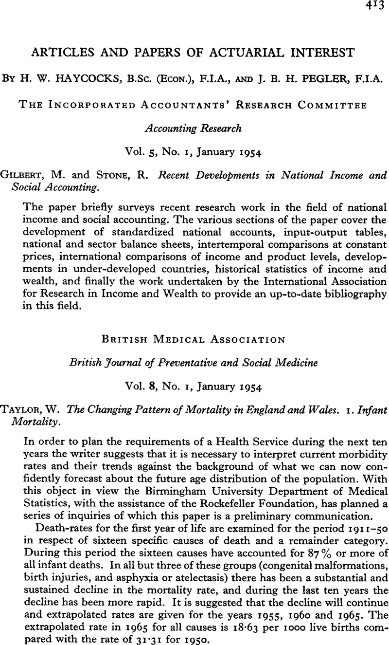 Articles and Papers of Actuarial Interest | Journal of the