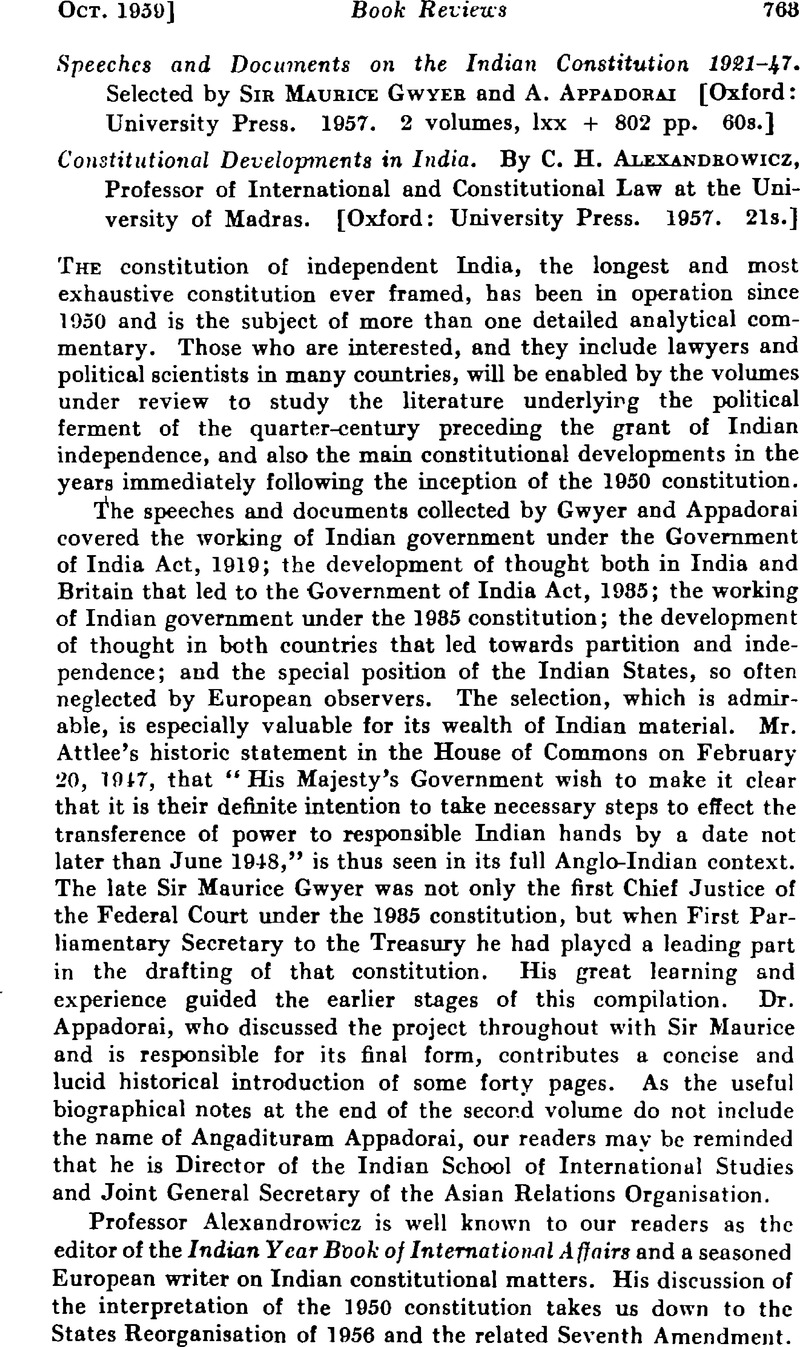 Speeches and Documents on the Indian Constitution 1921–47