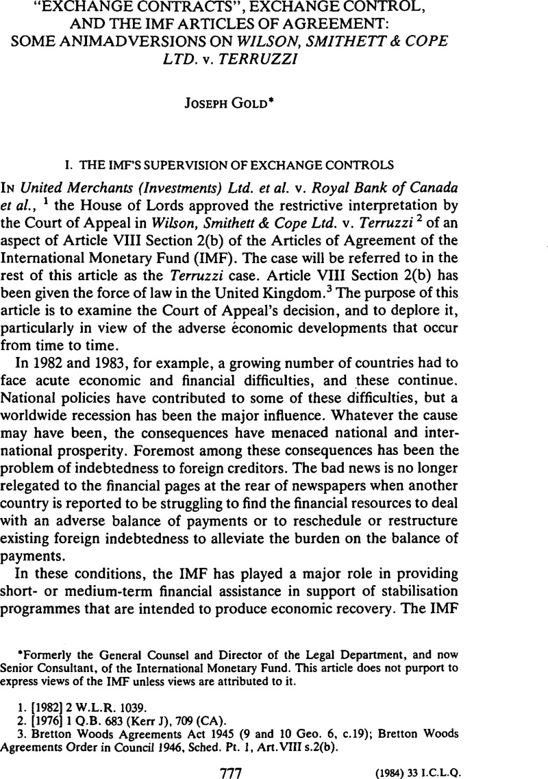 Exchange Contracts Exchange Control And The Imf Articles Of