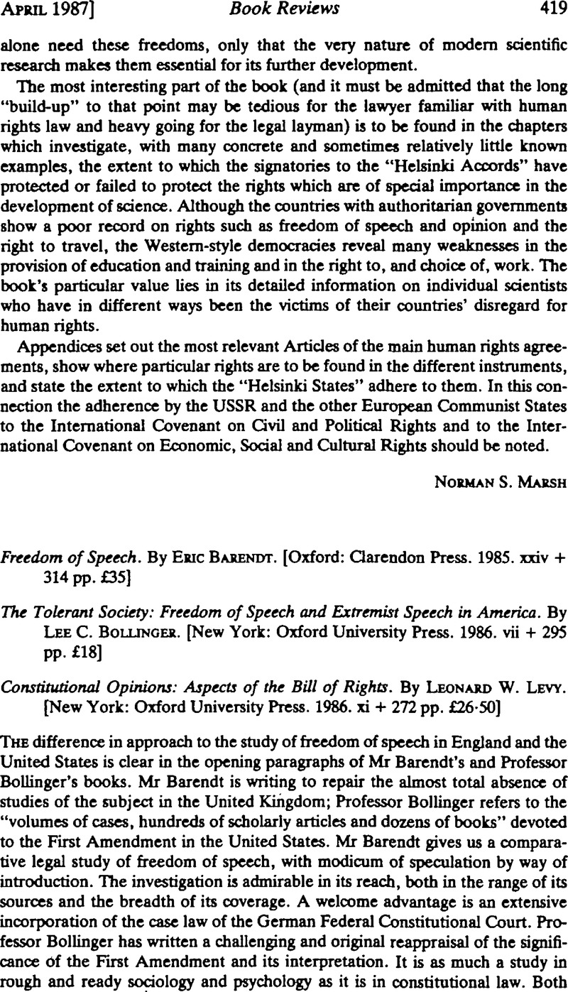 Freedom of Speech  By Eric Barendt  [Oxford: Clarendon Press  1985
