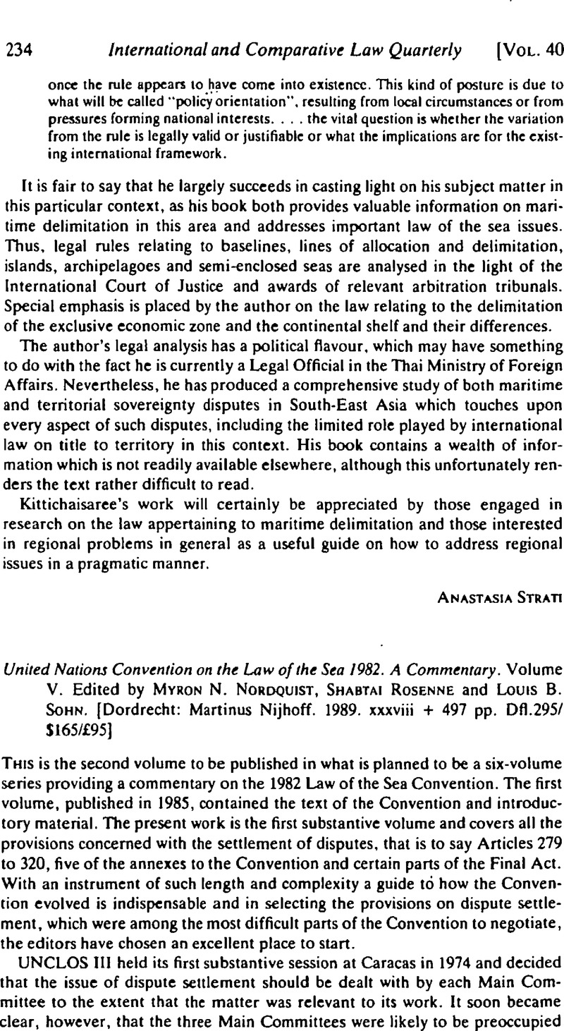 United Nations Convention on the Law of the Sea 1982. A Commentary. Volume V.  Edited by Myron N. Nordquist, Shabtai Rosenne and Louis B. Sohn.