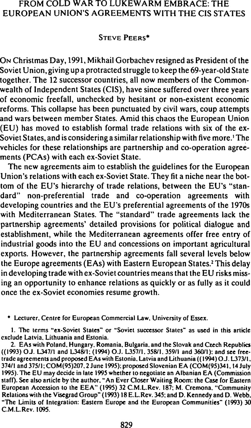 From Cold War To Lukewarm Embrace The European Union Agreements