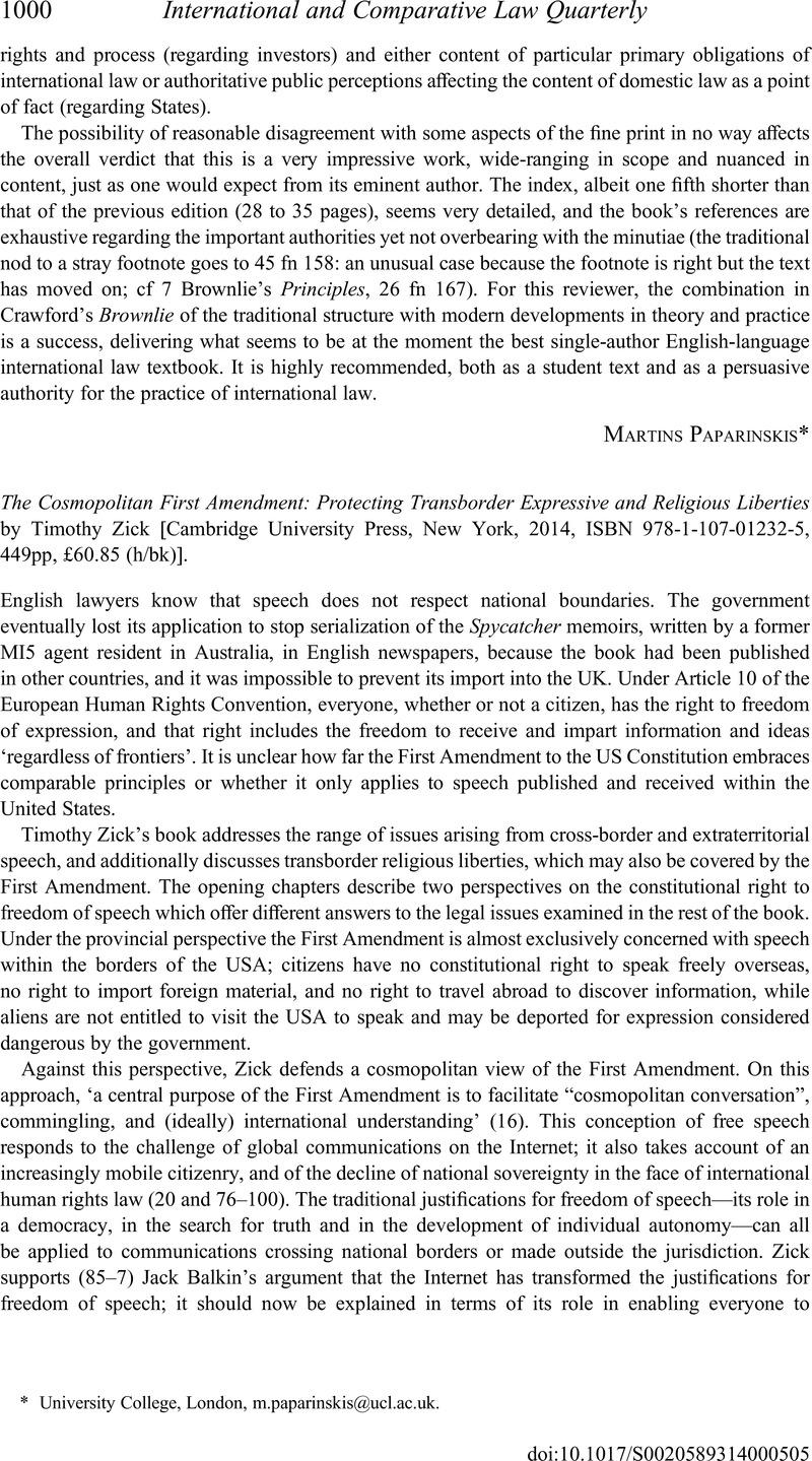 the cosmopolitan first amendment zick timothy