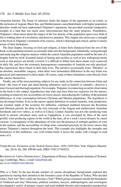 Yeşim Bayar, Formation of the Turkish Nation-State, 1920–1938 (New York:  Palgrave Macmillan, 2014). Pp. 208. $90.00 cloth. ISBN: 9781137384522.