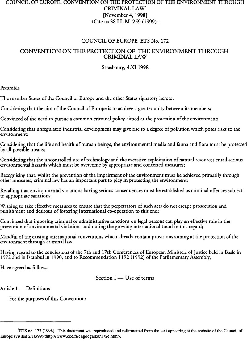 Council of Europe: Convention on the Protection of the