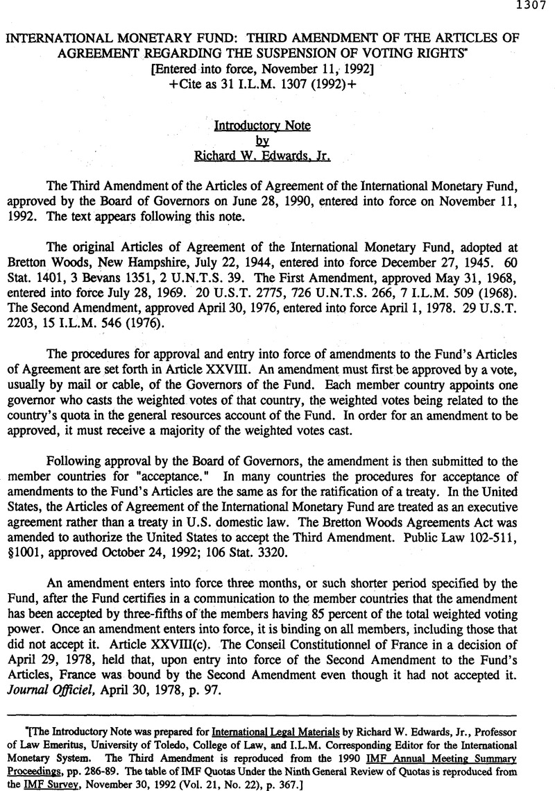 International Monetary Fund Third Amendment Of The Articles Of