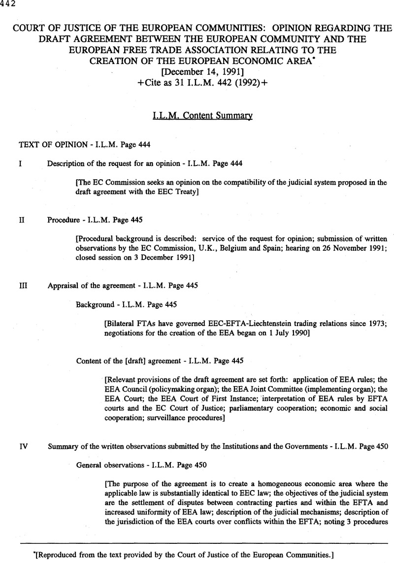 Court Of Justice Of The European Communities Opinion Regarding The