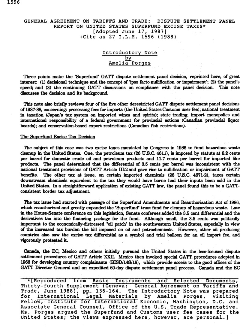 General Agreement On Tariffs And Trade Dispute Settlement Panel