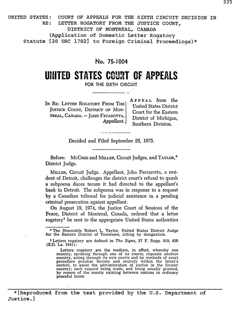 Letter Of Rogatory.United States Court Of Appeals For The Sixth Circuit Decision In Re